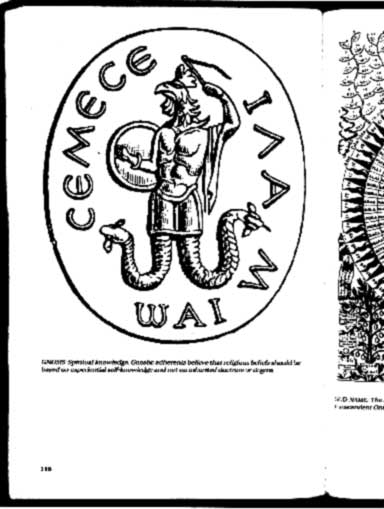 Picture depicting a scan of the page from the book Encyclopedia of Mysticism showing a depiction of the Gnostic conception of God called Abraxas