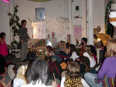 Photo of me giving a talk at the counter culture Green Angels centre near London Bridge in 2003