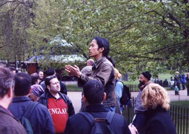 Photograph of myself at Speakers Corner in London's Hyde Park taken in 2002