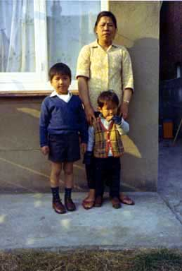 Photo of Myself, my Mother and my Brother Wai Fai taken in the backyard of our house in Clacton on Sea. Circa 1972